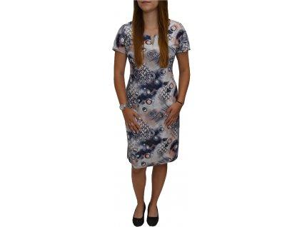 Šaty Ina oranžové s modrými kroužky
