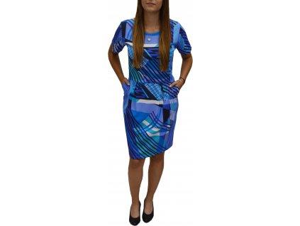 Šaty Pratto modré s kapsami