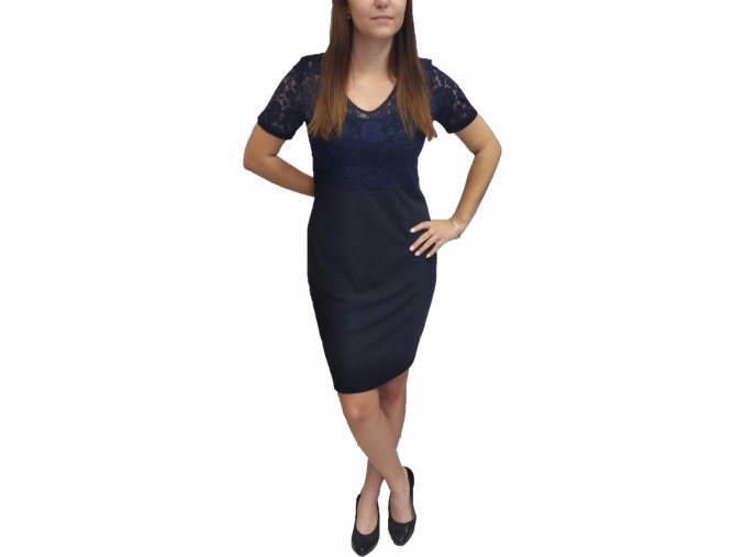Šaty Sabatti krajkové tmavě modré
