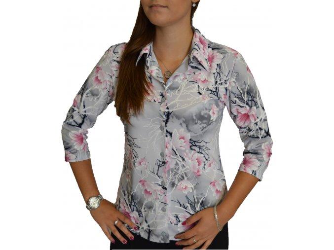 Košile Sabatti šedá s růžovými květy