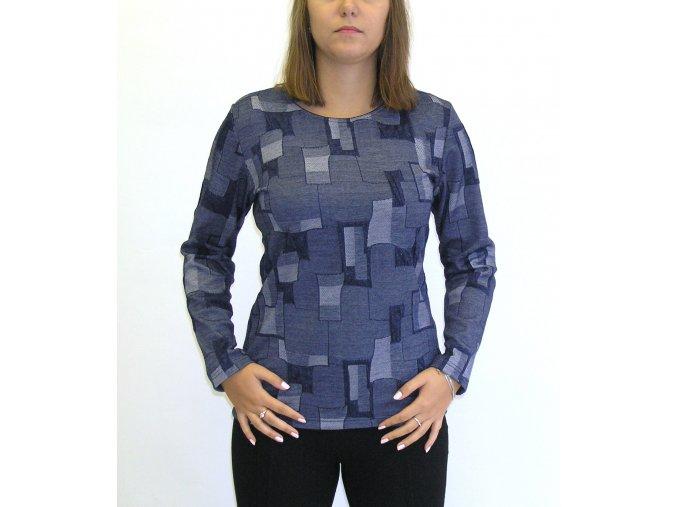 Halenka Sabatti modrá s geometrickymi vzory
