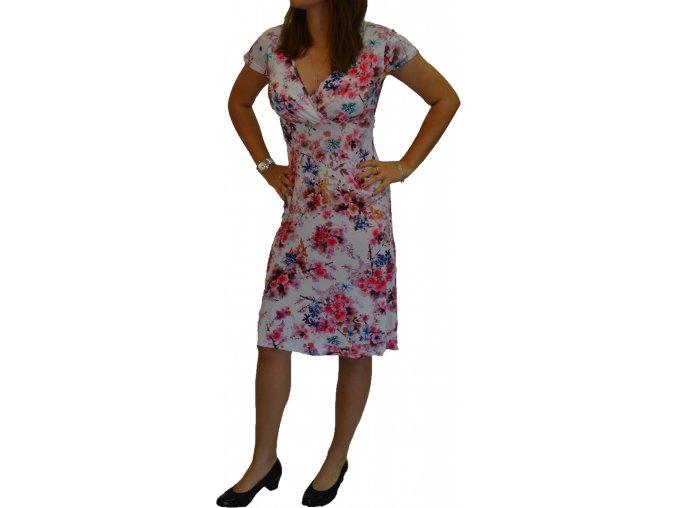 Šaty UOMO & DONNA  s překříženým dekoltem květy