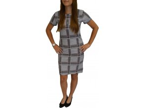 Šaty Pratto šedé s růžovým vzorem