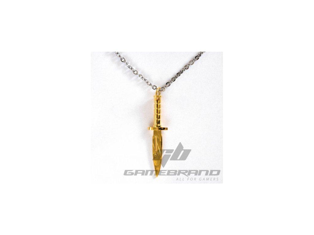Counter Strike přívěšek - Bajonet - zlatá barva