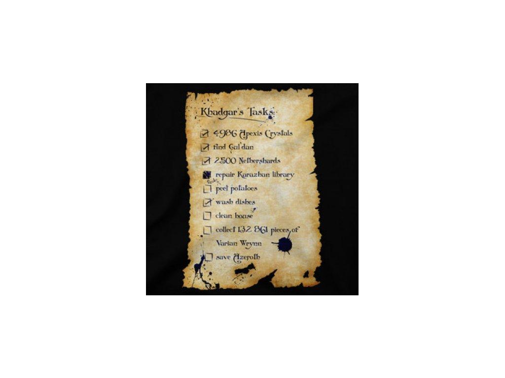 Khadgar's Tasks - herní tričko
