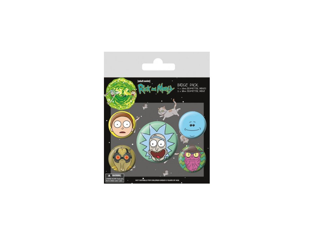 Rick a Morty - placky - 5-Pack Heads