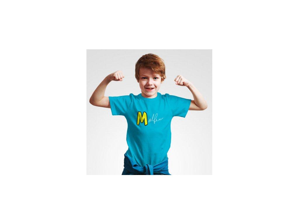 Malfix tričko s podpisem dětské - modrá