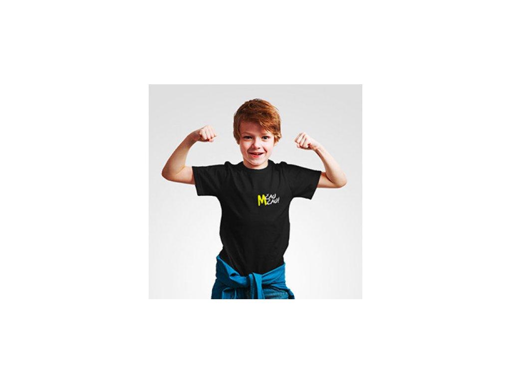 Malfix Čau Čau černé tričko dětské - logo vpředu
