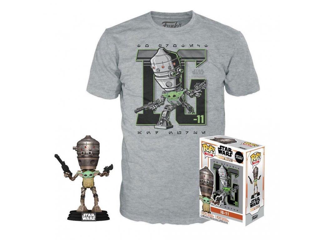 Star Wars The Mandalorian Funko set trička a figurky Child in Satchel (1)