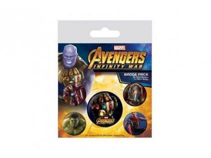 Avengers Infinity War set odznáčků - Rukavice nekonečna