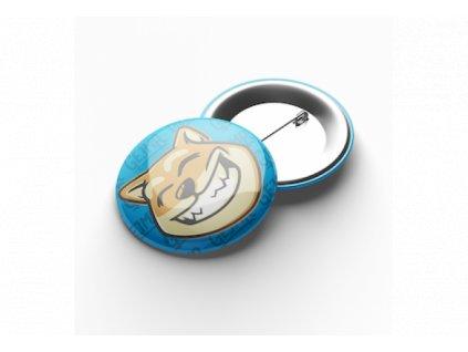 Placka se špendlíkem - Doge modrá (7,5 cm)