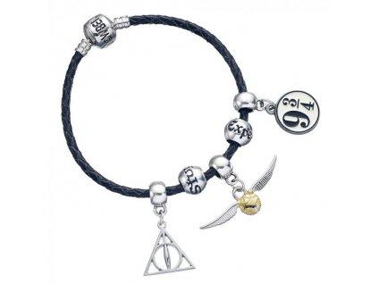 Harry Potter - náramek s přívěsky - kožený