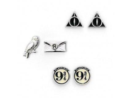 Harry Potter - sada náušnic - Nástupiště 9 a 3/4, Hedvika a Relikvie