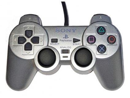 PS2 kabelový ovladač SONY Dualshock 2 ORIGINÁLNÍ SILVER