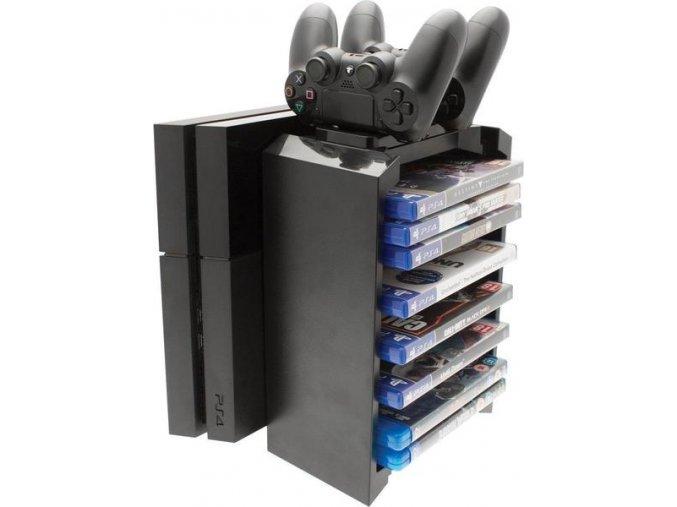 2 v 1 Dobíjecí věž + stojan na PS4 hry a ovladače (nové) - poškozený obal