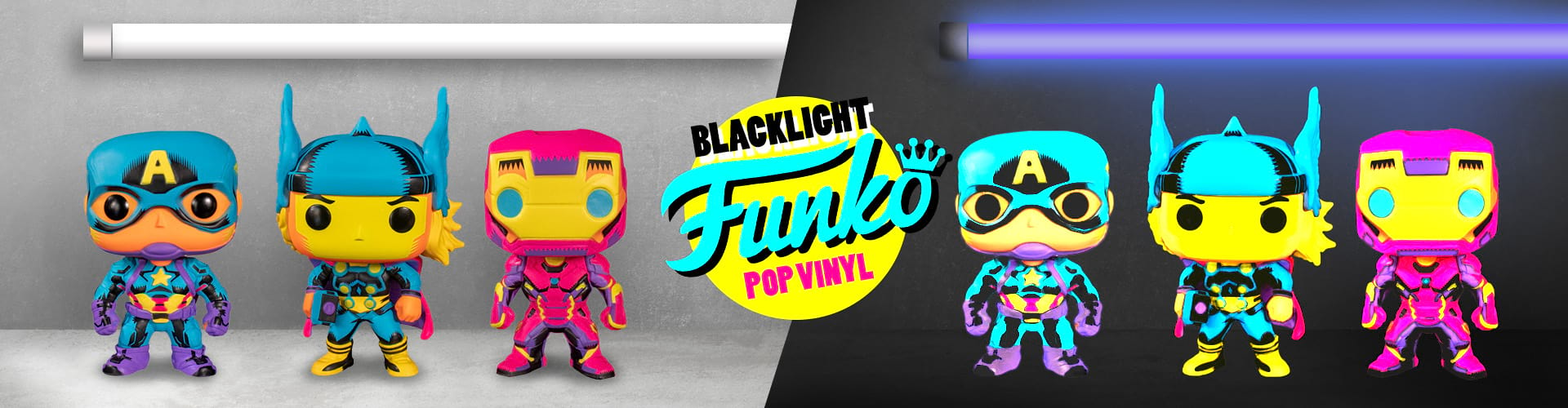 Funko POPs blacklight