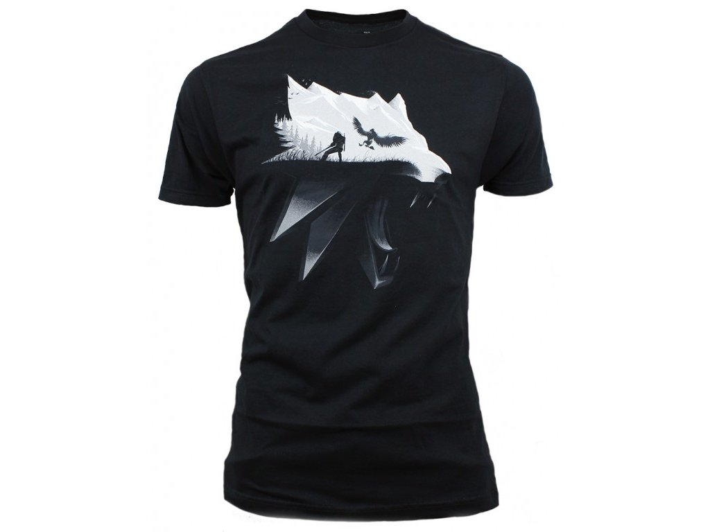 The Witcher 3 t-shirt - Wolf Silhouette (Velikost XXL)