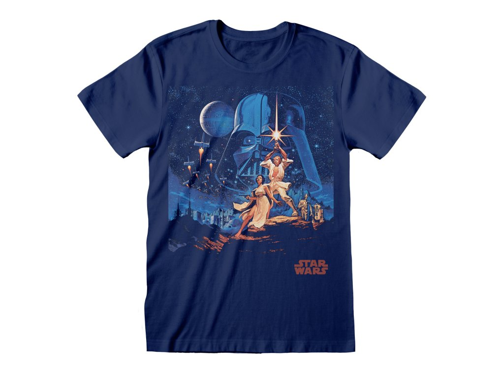 SWC00029TSC Star Wars New Hope Vintage Characters Blue Unisex Tee