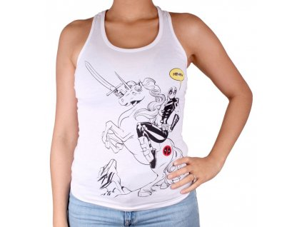 Deadpool top ladies - Unicorn White (Velikost XL)