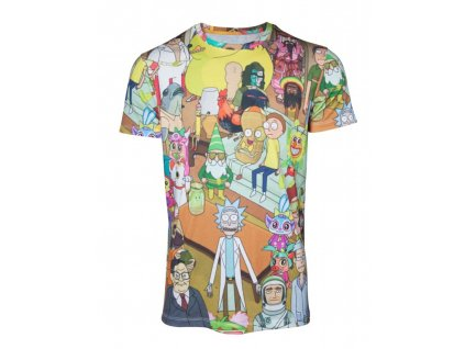 Rick and Morty t-shirt - Allover Print (Velikost XL)