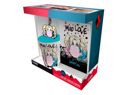 dc comics pck mug250ml keyring notebook harley quinn mad love