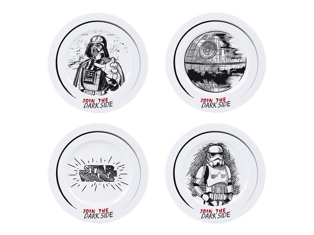 star wars set of 4 plates join the dark side