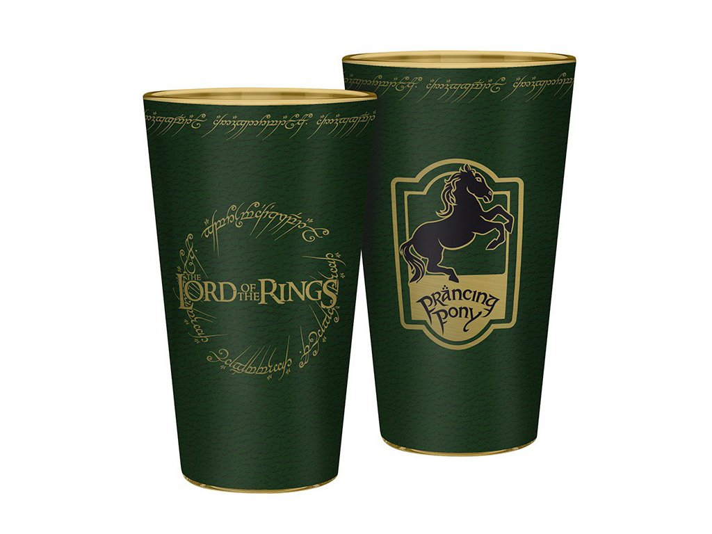 lord of the rings large glass 400ml prancing pony x2