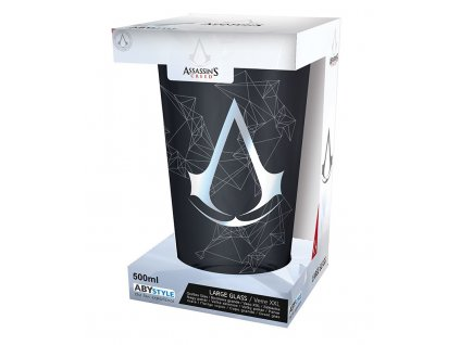 assassin s creed large glass 500ml assassin foil x2