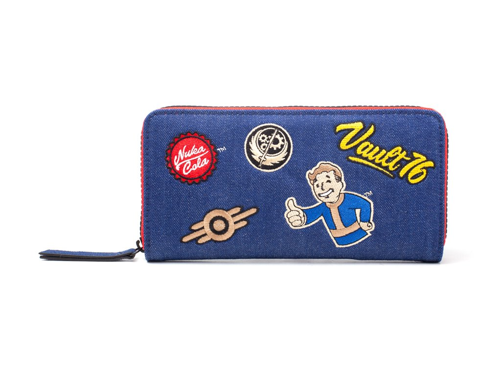 2783 fallout 76 damski portfel denim patches