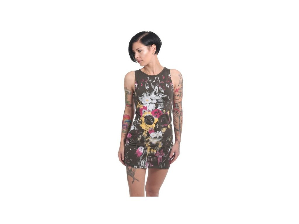 Yakuza Ink. - dámské šaty Flower Skull 13145 oliv