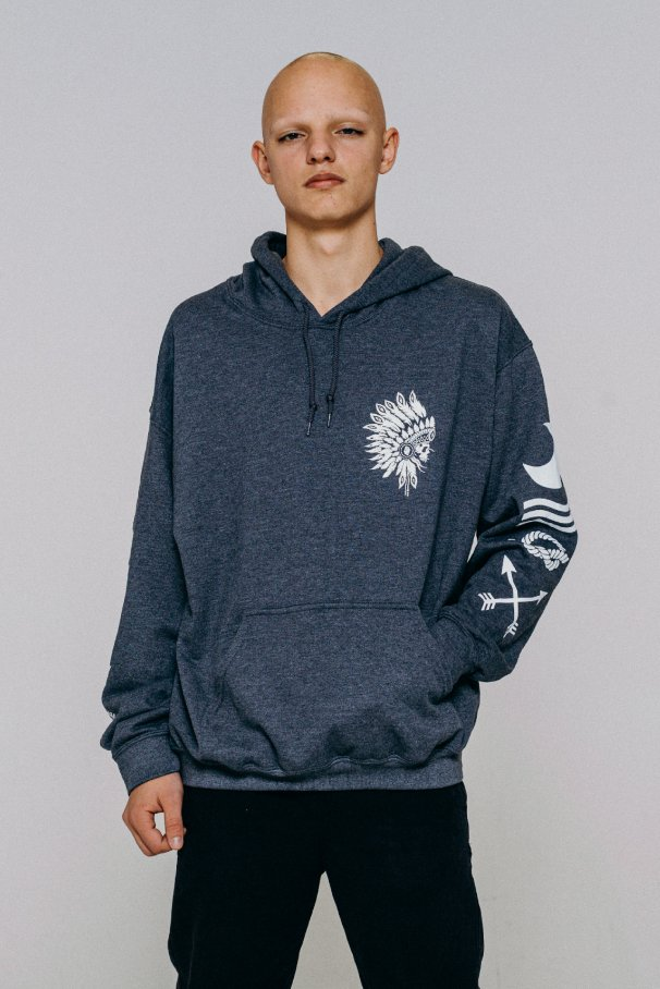 hoodie idnian grey
