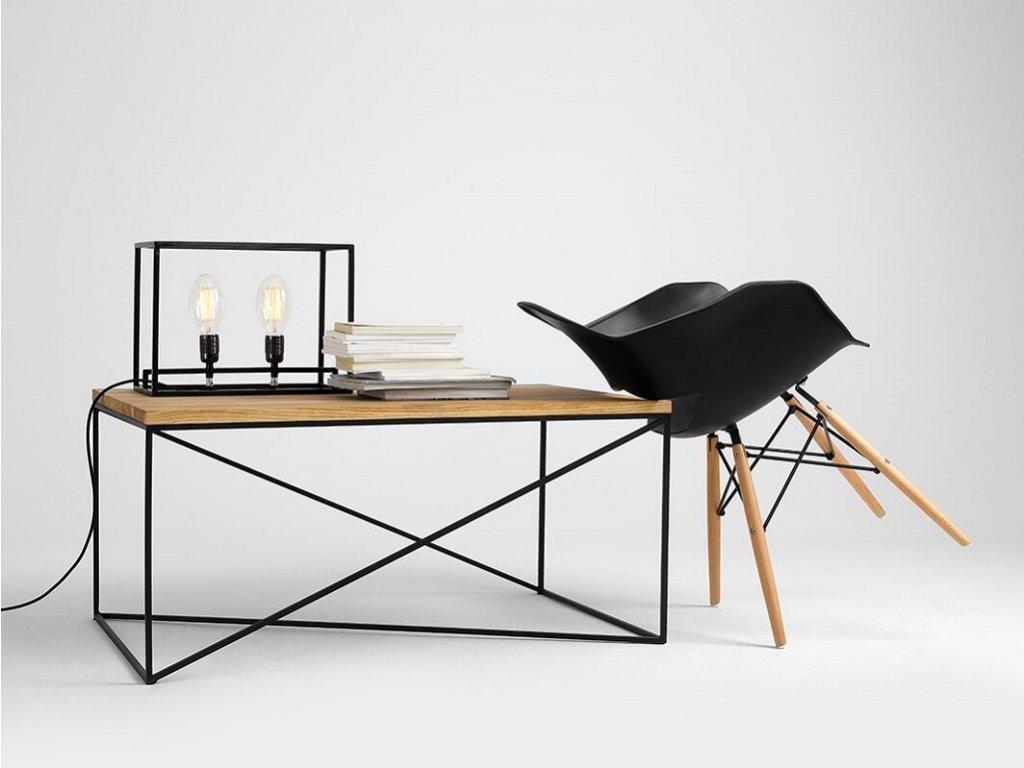 Minimalistický konferenční stolek Danish s černou podnoží 100x60cm