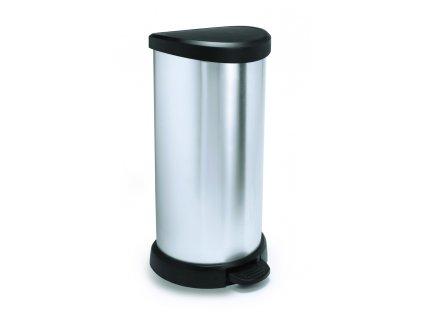 odpadkový koš - stříbrný DECOBIN 40L