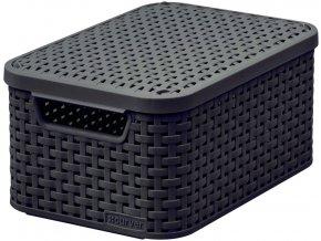STYLE box s víkem - S - tm. hnědý