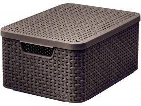 STYLE box s víkem - M - tm. hnědý