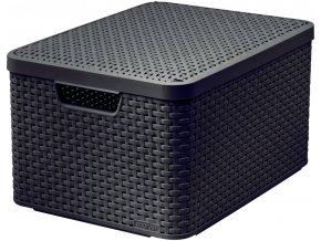 STYLE box s víkem - L - tm. hnědý