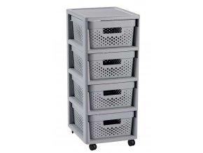 INFINITY DOTS regál se šuplíky 4x11L - šedý