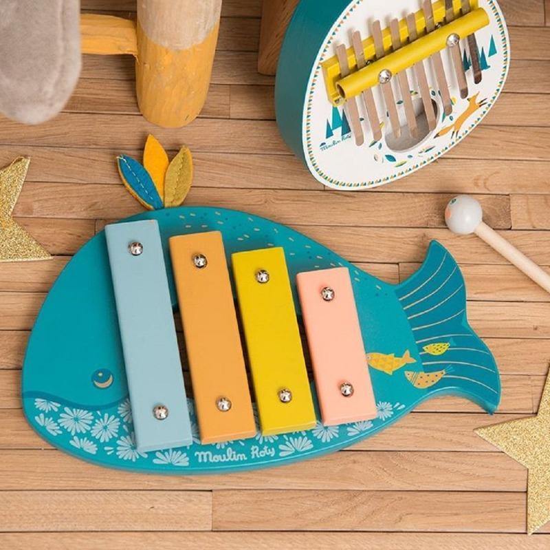Moulin Roty hudební hračky xylofon kalimba