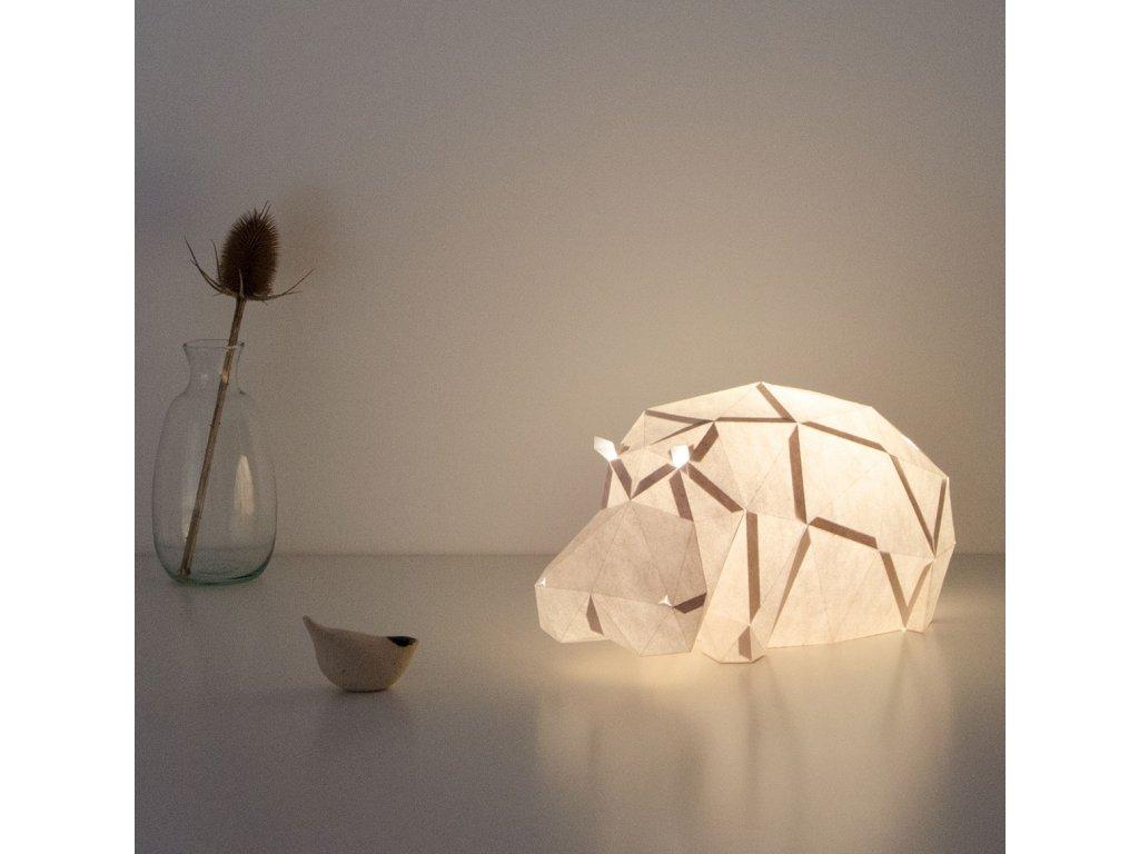 Papírová origami lampa líný hroch Owl paperlamps