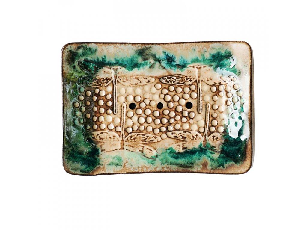 Mýdlenka keramická béžová vážky Almara Soap
