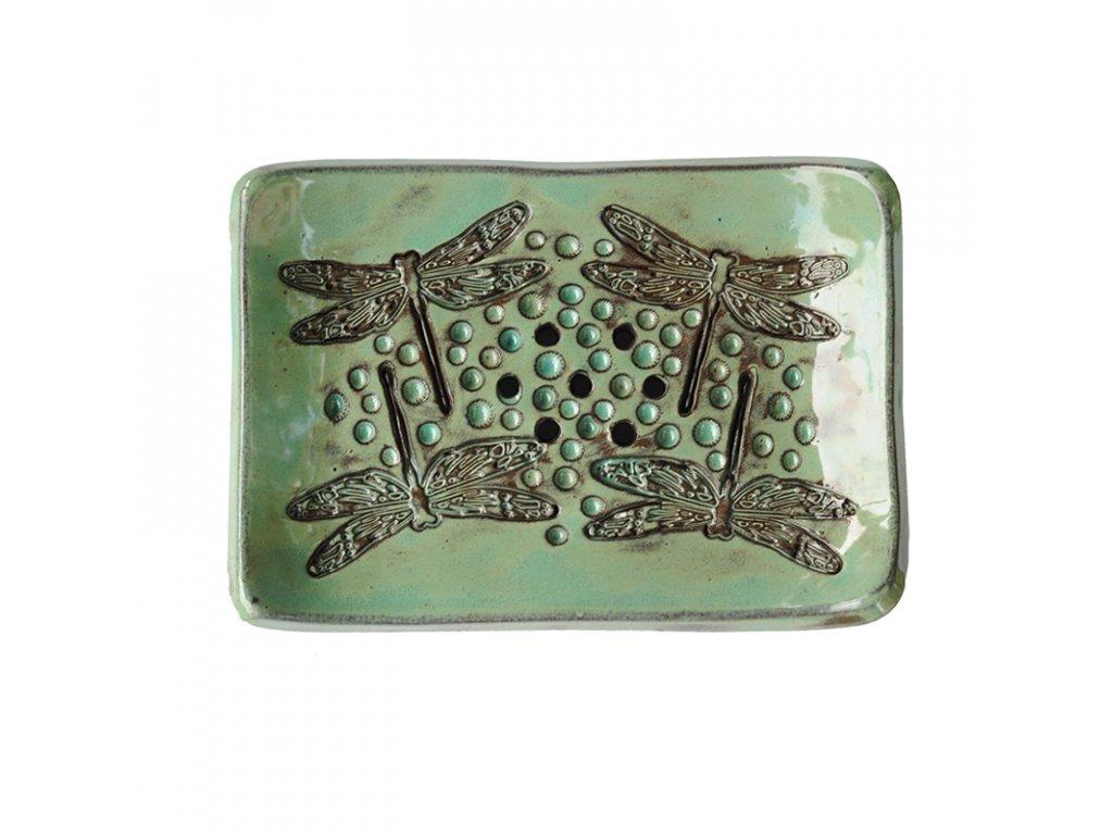 Mýdlenka keramická zeleno-hnědé vážky Almara Soap