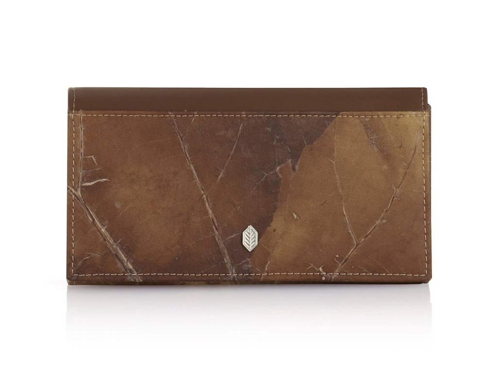 Fold over purse Brown leaf leather THAMON 1200x900