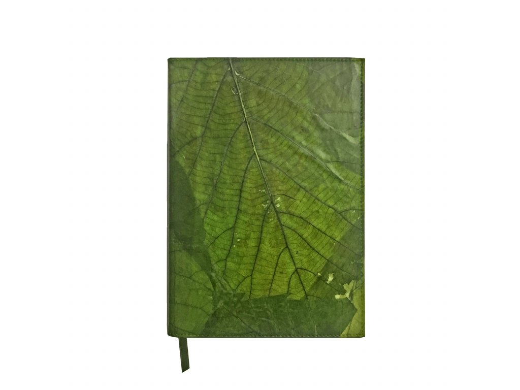 A5 Journa with lined paperl Green leaf leather THAMON 1800x1800