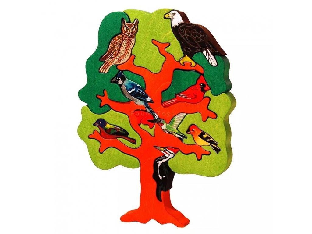 Dřevěné vkládací puzzle didaktické ptáci Severní Amerika Ceeda