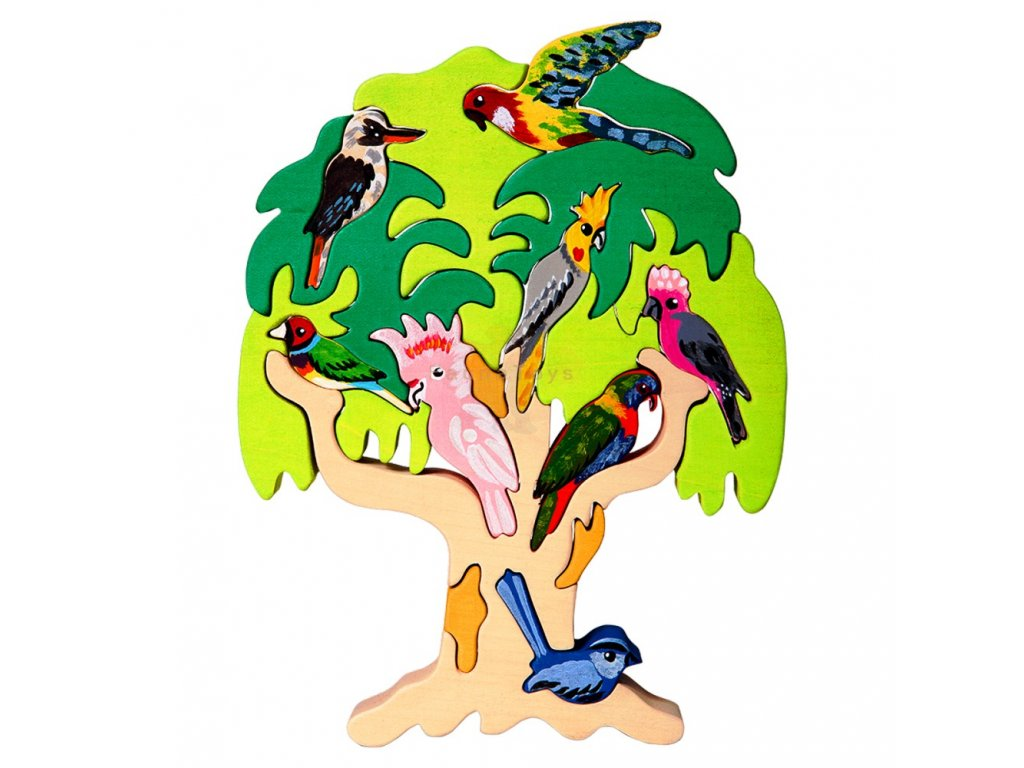 Dřevěné vkládací puzzle didaktické ptáci Austrálie Ceeda