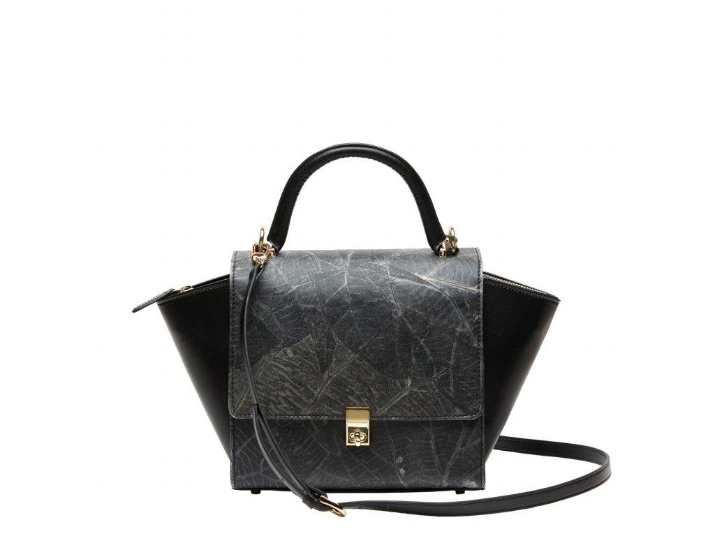 Black Emily top handle bag vegan leather Front Thamon 1800x1800