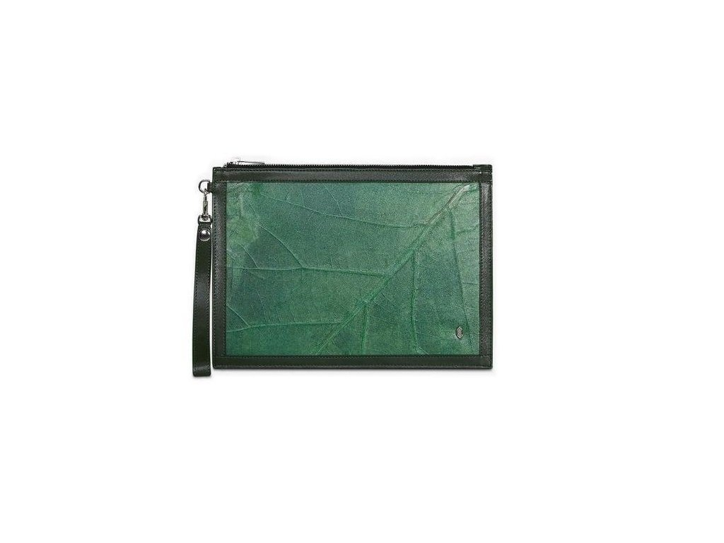 Forest Dean S Pouch Dark green Leaf leather THAMON front1 640x640