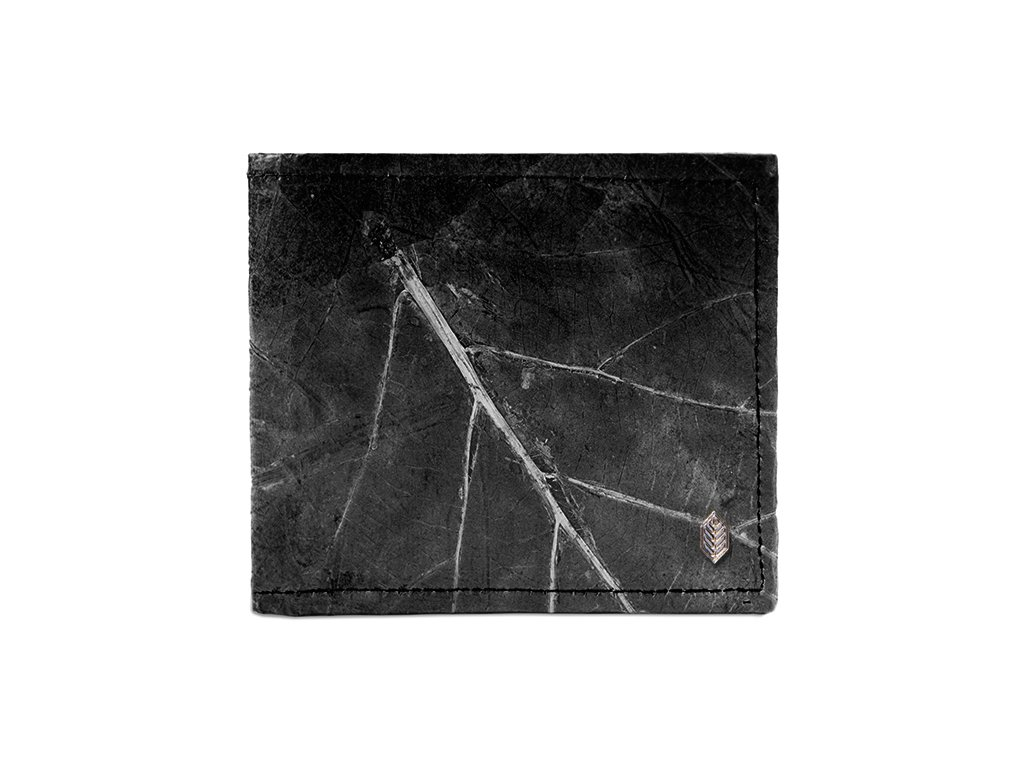 black real leaf wallet closed 2