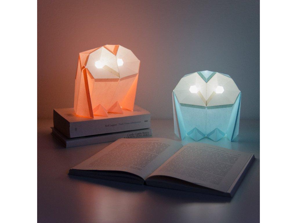 Papírová origami lampa sovička pálená Owl paperlamps