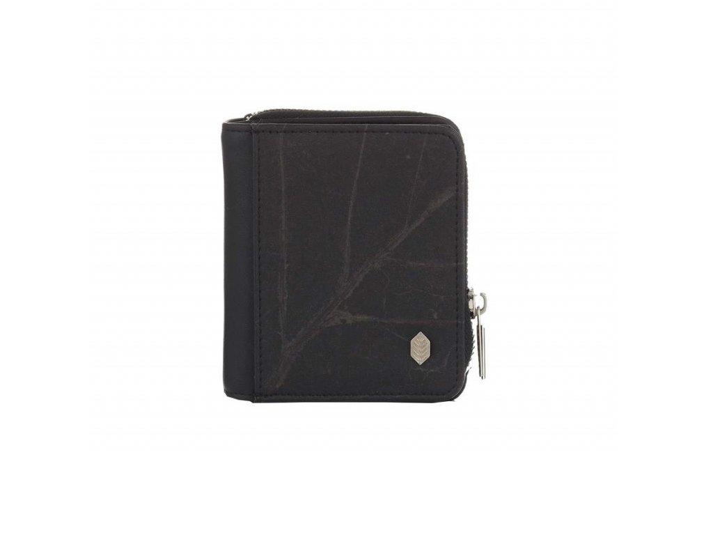Black Compact Zip Around Wallet vegan leather vegan wallet front Thamon 900x900
